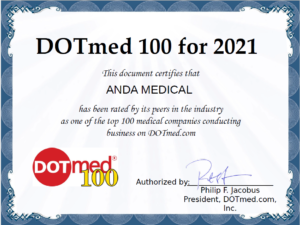This image is a certificate from DOTmed. This document certifies that ANDA MEDICAL has been rated by its peers in the industry as one of the top 100 medical companies conducting business on DOTmed.com.